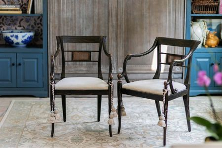 Reupholstered these chairs see more on the blog -  #LTKhome