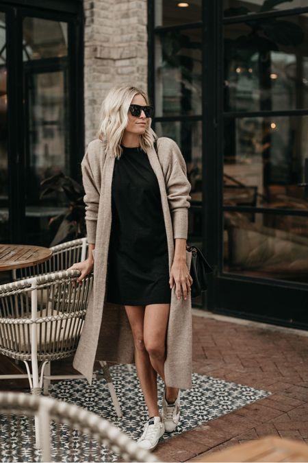 Black T-shirt dress with a cardigan and golden goose 🖤  #LTKstyletip #LTKunder100 #LTKunder50
