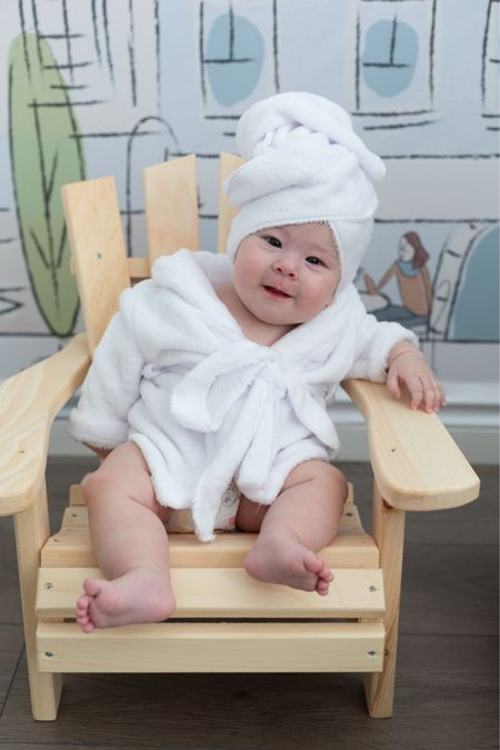 My baby is four months old! How cute is her baby adirondack/ Muskoka patio chair and baby bathrobe? Everything in mini size is so cute. The bathrobe is super soft - highly recommend!   #LTKbaby #LTKhome
