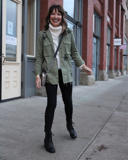 Lately, anything with a star print has been on my radar🤩 I'm like a moth to a flame!🔥 Julie and I both have this jacket, and we love it.🙋🏻♀️🙋♀️ Whether it's over a tank top or cozy sweater, it's fun to style year around. I linked this jacket (along with a more affordable, slightly less cool version), and also a sherpa jacket with stars I almost bought several times. Its so cute, but I didn't want to overdo it on the star print lol! You can shop all my outfit details on the  @liketoknow.it  app! Julie is back, and we're taking photos today- can't wait to get back into our Lastseenwearing routine! Have a great day friends!  #liketkit http://liketk.it/35oih #LTKNewYear #LTKstyletip #LTKunder100   Pistola jacket Black denim  Sorel boots Off white sweater Turtleneck sweater Casual outfit