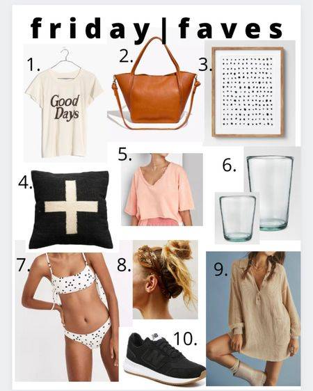 Friday faves!  1. Love a good graphic white tee 2. This bag is on my birthday list.  3. My favorite simple art work that we have in our living room  4. My favorite pillow from blackboard mercantile 5. Super cozy cropped shirt 6. These cups look like recycled glass but they're plastic! Super affordable  7. Loooove all things black and white dots. I also linked a one piece 8. This headband color is my fav. Matches everything 9. Picnic sweater! Good for going out and just to wear around the house 10. Simple black tennis shoes. And they're on sale! http://liketk.it/3gO27 #liketkit @liketoknow.it #LTKsalealert #LTKswim #LTKhome