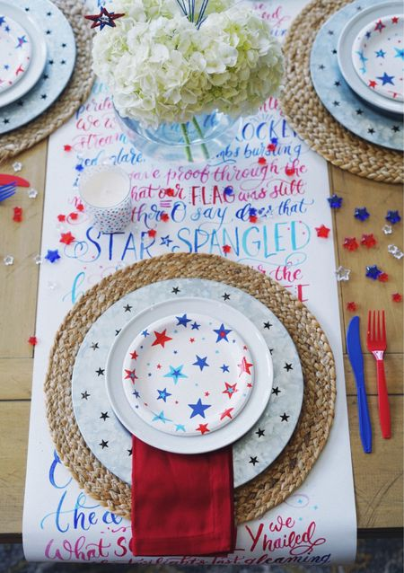 4th of July tablescape. Red white and blue home decor holiday decorations  #competition   #LTKSeasonal #LTKhome #liketkit http://liketk.it/3iuoF #LTKunder50 #LTKsalealert @liketoknow.it @liketoknow.it.home
