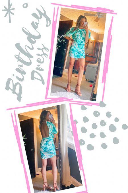 Birthday Dress // Wearing a S // love the open back // date night dress // outfit inspo // birthday outfit // cocktail dress // jlo heel // DSW // open toe sandal  #LTKstyletip #LTKwedding #LTKshoecrush