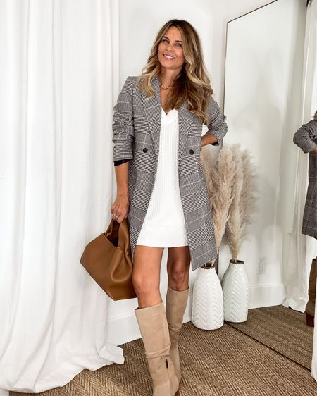 Sweater dress with knee high boots and a plaid coat. Fall outfit    #LTKunder100 #LTKstyletip #LTKSeasonal
