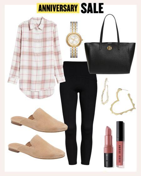 Casual look styled with Nordstrom Anniversary Sale pieces: neutral mules, button down shirt and black leggings.   #LTKstyletip #LTKsalealert #LTKshoecrush