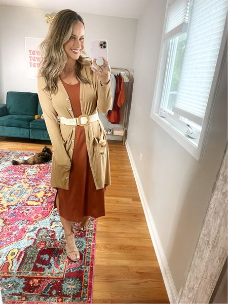 Affordable business casual outfits! This dress is perfect for fall and it's a target find! My heels, long cardigan and belt are all amazon finds!   #LTKunder50 #LTKstyletip #LTKworkwear