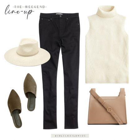 Sleeveless sweater, black jeans, leather bag, suede mules, wide brim hat, weekend outfit, fall outfit, sweater tank, sweater vest   #LTKunder100 #LTKworkwear #LTKSeasonal