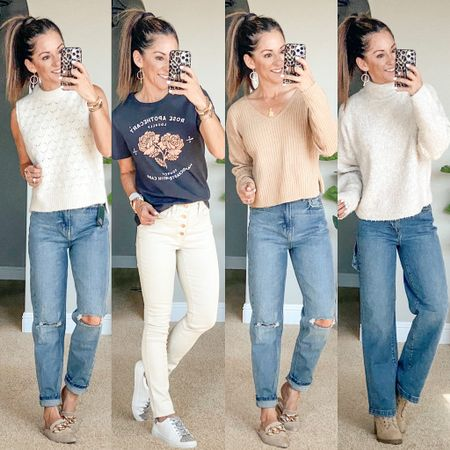Target sale! 20% off tops and jeans!  I'm wearing an xs in all of these cute tops/sweaters the sweater on the right is not online yet, so you need to grab it in store. size 0 in mom jeans on the left, 00 in the skinny ecru jeans, 00 in the wide leg carpenter jeans.    #LTKunder50 #LTKstyletip #LTKsalealert