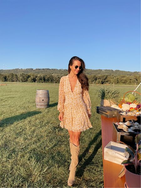 My dress is a repeat from earlier this summer and only $46! And these boots are currently on sale for the #NSALE and fully in stock!   #LTKunder100 #LTKunder50
