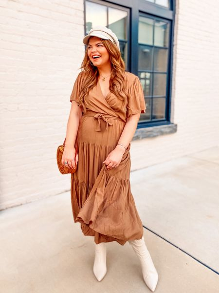My go to everyday dress. The caramel color is so perfect for year round, but especially fall! You can also layer this easily when the temps drop. I'm in a US 8 and it's TTS.     #LTKaustralia #LTKcurves #LTKunder100