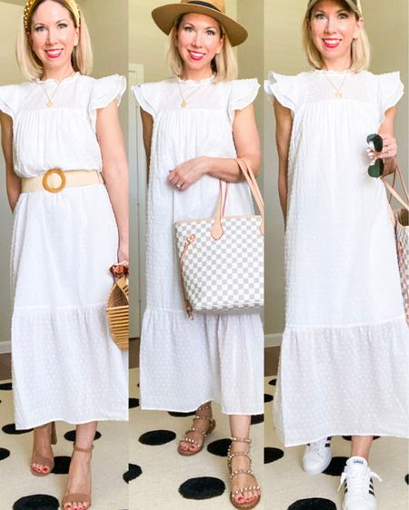1 Target dress styled 3 ways - which is your favorite?   1) with a belt, heels, bamboo purse for a date  2) with flat sandals, fedora and casual checkered tote bar for lunch and shopping with the girls  3) baseball hat and sneakers for running errands   Dress is lined to the knee and also comes in black.  Wearing in XS.           White dress, summer dresses, target style, target finds, Walmart finds , checkered tote , fedora , bamboo purse , handbag , women's accessories , hats , baseball cap , lunch outfit , casual outfit , summer fashion , mom style , mom outfit , earrings , #nsale , Nordstrom , Nordstrom anniversary sale , #nordstrom , amazon fashion , amazon finds #ltkshoecrush #ltkstyletip http://liketk.it/3k2MK #liketkit @liketoknow.it #LTKunder50 #LTKsalealert #LTKitbag