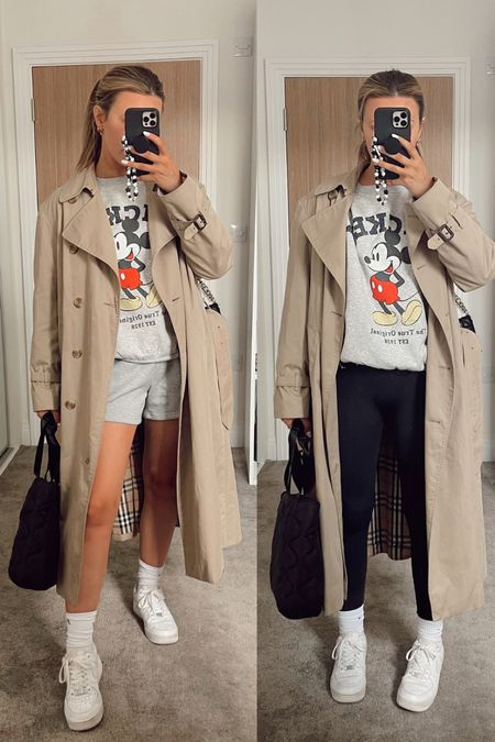 Burberry trench coat styled with Gymshark seamless vital leggings or another version grey sweatshorts and missguided quilted tote with Nike Air Force trainers. Travel outfit   #LTKunder100 #LTKSeasonal #LTKeurope