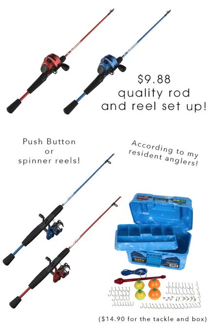 One of my boys wrecked his bike in a slippery patch of fallen mulberries on his way to the pond.  He was fine... but his fishing pole wasn't! ha!  A quick search found these inexpensive, but quality (enough) rod and reel sets to give us a few extras around.  For under $10, they'll be great for having friends use them when visiting, or not caring if one slides to near certain death in mulberries.😝  #LTKfamily #LTKkids #LTKunder50