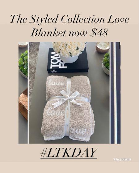 The Styled Collection love blanket now $48   #LTKDay #LTKunder50 #LTKsalealert #liketkit @liketoknow.it http://liketk.it/3hjC0    Anniversary gift  Housewarming gift  Wedding gift  Bridal shower gift  Bachelorette party gift  Gifts for bride  Home decor  Cozy blanket  Barefoot dreams dupe