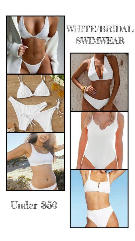White bridal swimwear under $50. Two piece bikini, set, halter, triangle top, one-piece, notch collar. Beach style, vacation, swimsuit, wedding, all white. http://liketk.it/3h3vD @liketoknow.it #liketkit #LTKunder50 #LTKunder100 #LTKswim #LTKwedding #LTKtravel