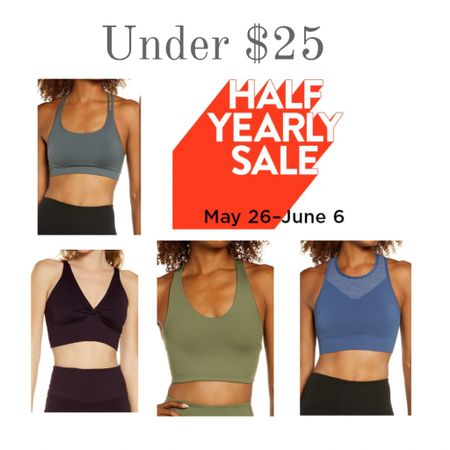 Nordstrom's Half Yearly Sale is on. Update your exercise gear with a new sports bra from Zella and others. These are under $25! Don't miss out. Workout clothes never looked so good!  #kimbentley #yoga   #LTKfit #LTKsalealert #LTKunder50