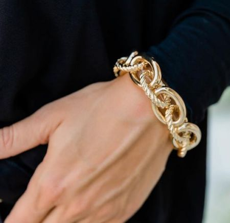 Pink Lily stretchy gold chain bracelet   #LTKSeasonal #LTKunder50 #LTKstyletip