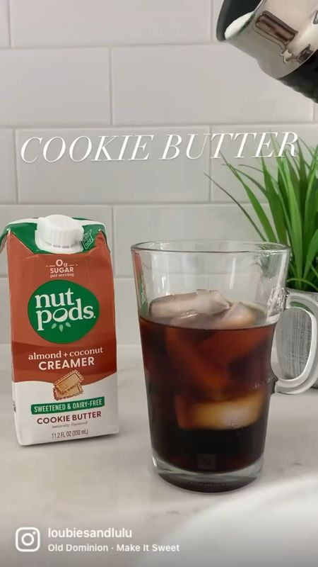 On a Cold Brew Cookie Butter KICK⚡️@nutpods Cookie Butter creamer is amazinggg in iced coffee (it's sweetened with stevia + dairy free)! Here's how I make it:   👉🏼 Fill glass 3/4 full with your fave cold brew + ice. My fave is @chameleoncoffee unsweetened vanilla cold brew.   👉🏼 Grab your fave nutpods dairy free creamer! For this drink I used a #nutpods combo: half @nutpods sweetened cookie butter and half unsweetened French vanilla for that just right sweetness! (I love the new sweetened with stevia creamers, but they are 𝘴𝘸𝘦𝘦𝘵!! Half and half is just right for me, but you do you❣️)   👉🏼 Make cold foam using a hand frother or @nespresso frother on cold function.   👉🏼 Pour the frothy creamer into cold brew, stir, and enjoy🤩  #nutpodsquad #nutpodspartner #nationalcoffeeday #coffee #nutpods #coldbrew #cookiebutter #dairyfree #coffeehack #coffeeathome  #LTKfit #LTKSeasonal #LTKhome