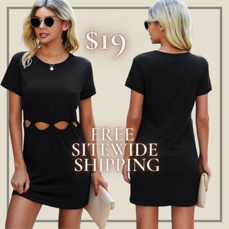 Cut out tshirt dress from Shein and free sitewide shipping today   http://liketk.it/3hZYu #liketkit @liketoknow.it #LTKunder50 #LTKstyletip You can instantly shop my looks by following me on the LIKEtoKNOW.it shopping app