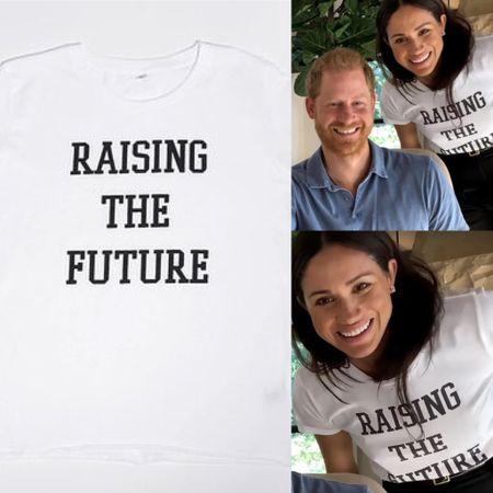 Meghan wearing Raising the Future t-shirt #casual #mom
