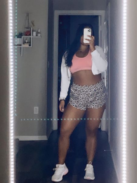 GYM OOTD   Trust me you need these shorts in every color, I suggest sizing up ⚡️   🤎Follow for all the Mid Size Outfit Inspo ✨ 🤎 Shop my daily looks by following me on the LIKEtoKNOW.it shopping app  🤎 Links are in Bio!  . . . #outfitoftheday #outfitinspiration #outfits #outfitinspo #outfitideas #outfitideas4you #midsizestyle #midsizefashion #midsize #midsizegals #midsizegirl #midsizeootd #gymootd #gymoutfit #workoutshorts #sportsbra #croppedhoodie   #LTKunder50 #LTKcurves #LTKfit