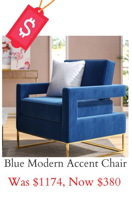 Modern blue accent chair on sale for Memorial Day!   #LTKsalealert #LTKhome