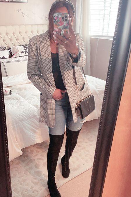 Fall fashion, blazer, otk boots, boots,