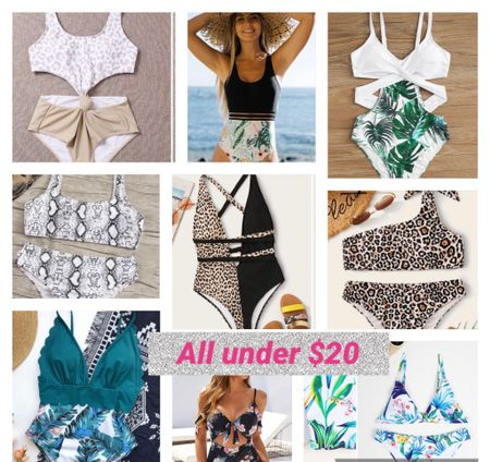Swimsuits all under $20 with some of the cutest patterns. Anything from one piece to bikinis and snake print to leopard print.   #LTKSeasonal #LTKswim #LTKsalealert