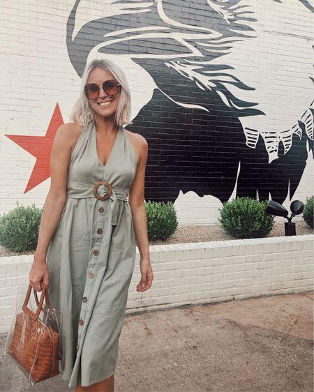 Linen halter dress for just $60 // Gorgeous deep open back // Perfect summer date night dress http://liketk.it/2DDwZ @liketoknow.it #liketkit #LTKstyletip #LTKunder100 #LTKtravel #ltksummer, Sage, casual, Asos