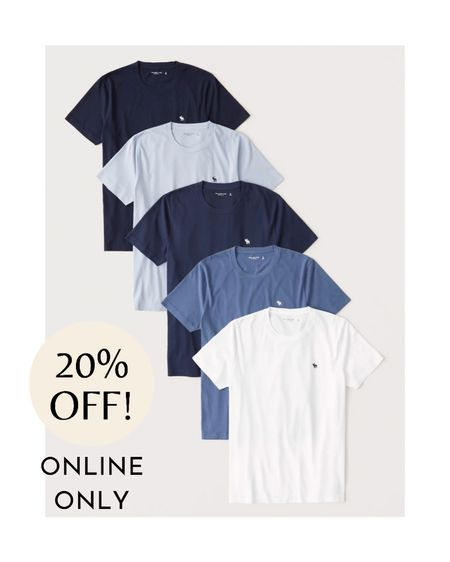 Abercrombie & Fitch's 5-pack of short-sleeve icon tees features five 100% cotton t-shirts with a crew neckline and straight hem. The pack comes in a variety of colors and sizes. These tees are so classic and iconic, your dad can wear them almost anywhere and any time. He will be happy to receive a new pack of t-shirts.  You can find this multipack of short-sleeve tees for $60 at Abercrombie & Fitch.  #LTKmens #LTKsalealert #LTKunder100