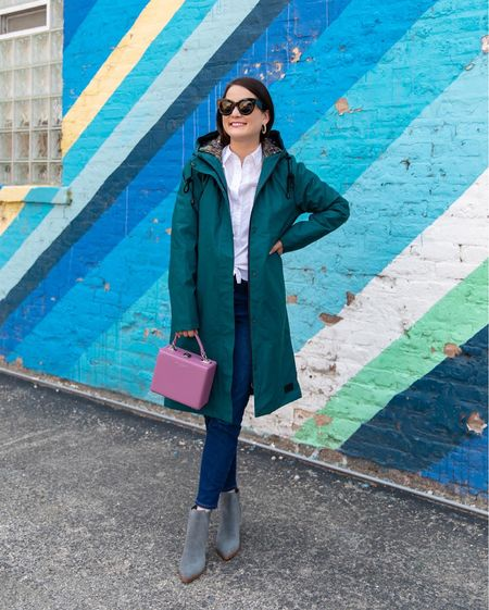 A Pendleton teal raincoat and Marc Fisher suede booties from the Nordstrom Anniversary Sale paired with a Brandon Blackwood bag and Madewell jeans #nsale  #LTKstyletip #LTKitbag #LTKsalealert