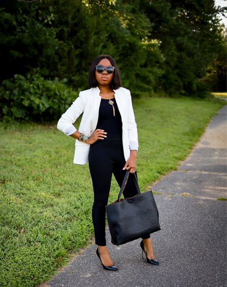 Stylish work outfit with this under $50 Anniversary Sale blazer (size down. Wearing XS) and Spanx Perfect Black Pants. If you need a seamless bodysuit, you can't go wrong with this Commando bodysuit and top-rated reversible tote bag.   #LTKunder100 #LTKitbag #LTKworkwear