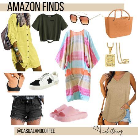My latest Amazon finds!    http://liketk.it/3hB7n #liketkit @liketoknow.it #LTKstyletip #LTKunder50 #LTKshoecrush   Coverup Pillow slides Cutoff shorts Beach bag Bogg bag dupe Cropped tee Sweater tank Kimono Sports bra