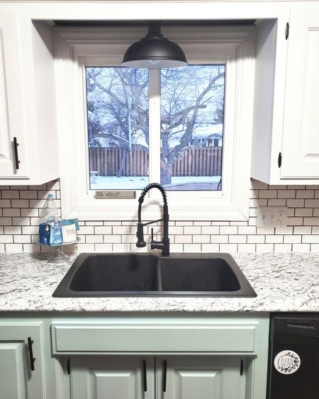 Kitchen upgrades make all the difference! New sink, faucet, counters, paint, and cabinet pulls made this old oak kitchen into a modern farmhouse!   Screenshot or 'like' this pic to shop the product details from the LIKEtoKNOW.it app, available now from the App Store!    http://liketk.it/35A2r @liketoknow.it #liketkit #LTKhome @liketoknow.it.home