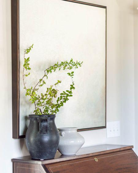 I scored this secretary desk on Marketplace, but found a great lookalike!  http://liketk.it/3eGpQ #liketkit @liketoknow.it #LTKhome #LTKstyletip #LTKunder100 home decor office decor tabletop styling black vase stoneware pot framed landscape canvas