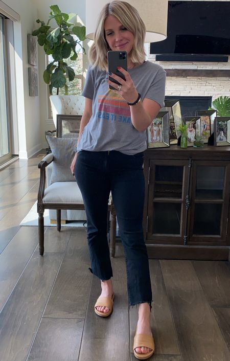 Elevated casual daily look 🤍 Black jeans, grey graphic tee, and chic slides make for the perfect look!   #LTKstyletip #LTKshoecrush #LTKbacktoschool