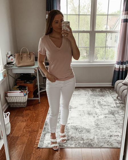 Express Essentials- relaxed top and white jeans http://liketk.it/3eaU1 #liketkit @liketoknow.it #LTKstyletip #LTKsalealert #LTKshoecrush