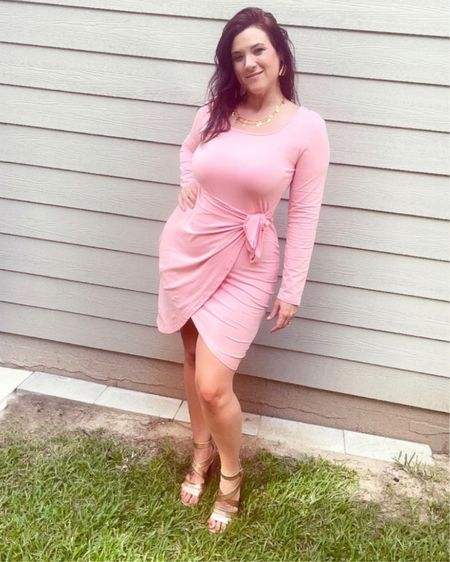 Pink wrap dress with wrap tie at the waist, comes in lots of colors. Great for professional or casual wear!   http://liketk.it/3jRKD #liketkit @liketoknow.it #LTKstyletip @liketoknow.it.home Shop your screenshot of this pic with the LIKEtoKNOW.it shopping app