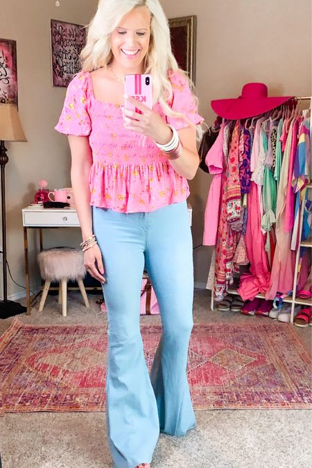 Walmart top - runs large so size down! Pink and yellow floral - great quality and affordable  Buddy love flare jeans size 27/28 - code Purposeinthepink for 15% off  Pink studded wedges  Casual summer outfit Walmart fashion  Floral top Date night outfit   http://liketk.it/3h3Z4 #liketkit @liketoknow.it #LTKDay #LTKunder50 #LTKstyletip