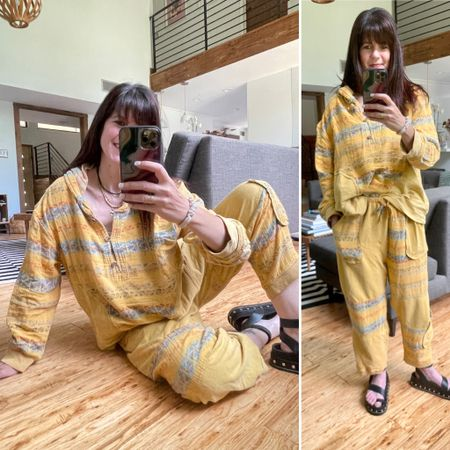 Loving this kicked up sweatsuit for summer and beyond. The athleisure boho hippie vibes of the color and print really speaks to my soul - and the laid back vibe that is the theme of Summer 2021 for the fam and I. Road trips with no real itinerary or even destination in mind is just what we need! What are your summer plans?  . . And don't forget you can instantly shop my looks by following me on the LIKEtoKNOW.it shopping app  http://liketk.it/3i0Rt #liketkit @liketoknow.it  . .  @liketoknow.it.home #LTKunder100 #LTKstyletip #LTKhome