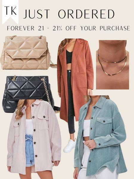 Forever 21 Order / Shacket / Shacket / Fall Fashion / quilted bag / duster cardigan   #LTKtravel #LTKbacktoschool #LTKitbag