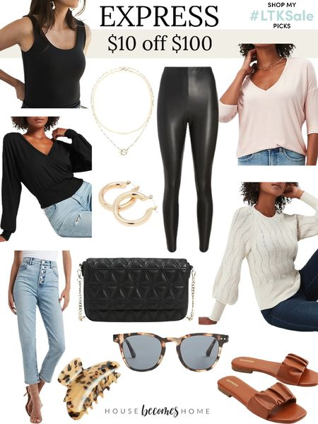 Save $10 off $100 purchase at Express!   OOTD, jewelry, teacher outfits, sweaters, fall outfits, jeans, neutral, sunglasses, handbags, sandals   #LTKsalealert #LTKstyletip #LTKSale