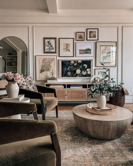 Living room decor, coffee table, rug, media console, gallery wall http://liketk.it/3iKxz #liketkit @liketoknow.it #LTKstyletip #LTKunder100 #LTKhome