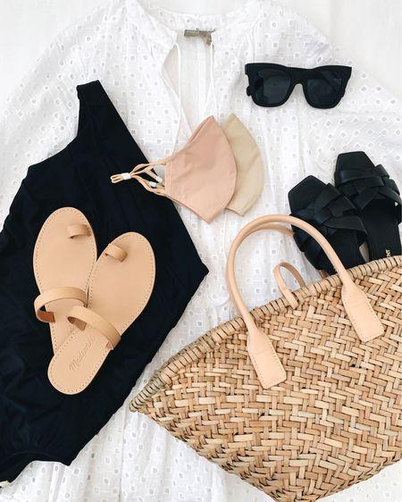 Swimwear. Summersalt swim. Beachwear. What to wear to the beach. Beach days.   One piece - Summersalt 2 Dress - ASOS petite 00 (old) Sunglasses - Quay Bag - Mango Sandals - Madewell 5 (old) Sandlas - YSL 35 Masks - Banana Republic   http://liketk.it/3hSU4 #liketkit @liketoknow.it #LTKswim