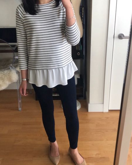 """March 29, 2019 - LOFT deal of the day! $29.50 sweatshirts and since no code is needed use code MOBILE25 or an extra $25 off your full-price promotional purchase of $100+. Thia code xcludes L&G and clearance. I am trying on size XXS regular and never had a chance to repurchase this striped peplum top in petite for a better fit. For reference I'm 5'2.5"""" and 110 pounds. @liketoknow.it http://liketk.it/2AN7H #liketkit #loveloft"""