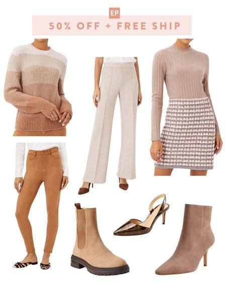 50% off everything + free ship with no minimum on Ann Taylor! Lots of fall workwear and casual pieces like travel friendly neutral sweaters, suede pants and ankle boots. These picks are all available in petite sizing except the sweaters!  #LTKtravel #LTKSeasonal #LTKworkwear