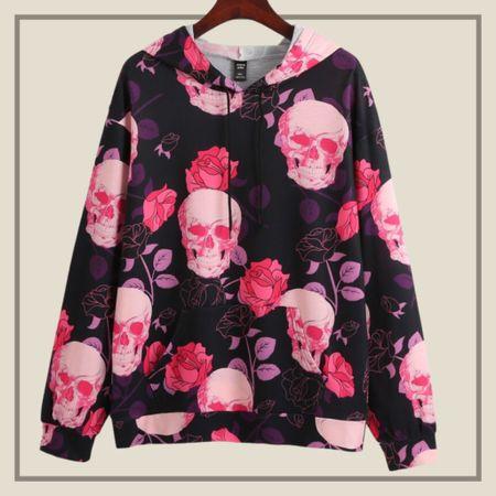 Skull and floral print drawstring hoodie   #LTKunder50 #LTKstyletip #LTKSeasonal