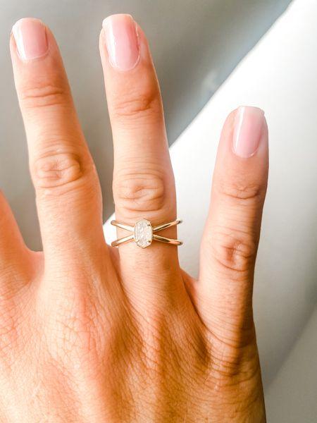 Emilie Gold Double Band Ring In Iridescent Drusy Kendra Scott ring  Ring for girlfriend  Ring    #LTKwedding #LTKunder100 #LTKstyletip