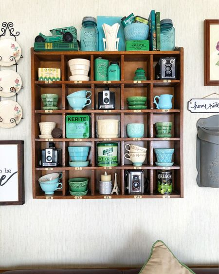 Linking up lots of the same vintage items we have in our cubby shown here, as well as some similar ones, so you can recreate this cubby look! #summerdecor #cubby #wallcubby #homedecor  #LTKhome
