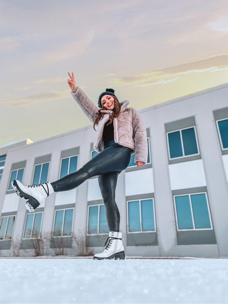 Winter outfit idea 💡 faux fur jacket. Spanx faux-leather leggings. White combat boots. Abercrombie style. Black two Pom-Pom beanie.   #LTKstyletip #LTKshoecrush #LTKSeasonal